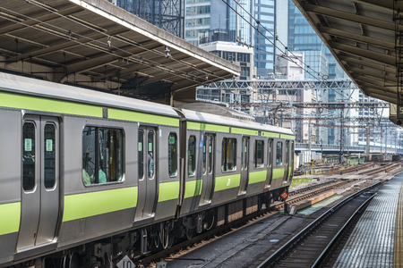 45047993 - a yamanote line train in a tokyo station
